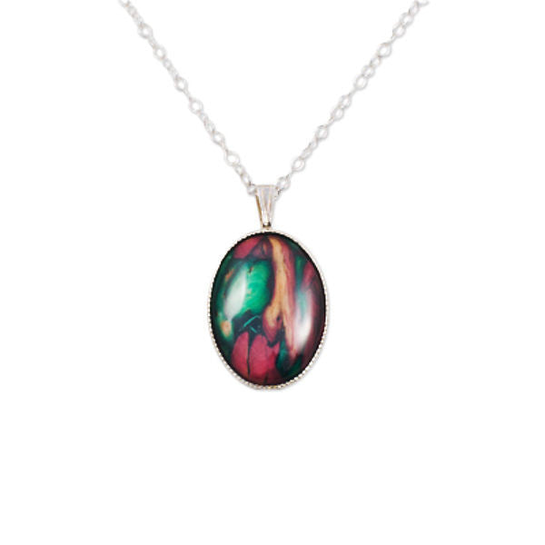 Heathergems Medium Milled Edge Oval Pendant Necklace In Silver