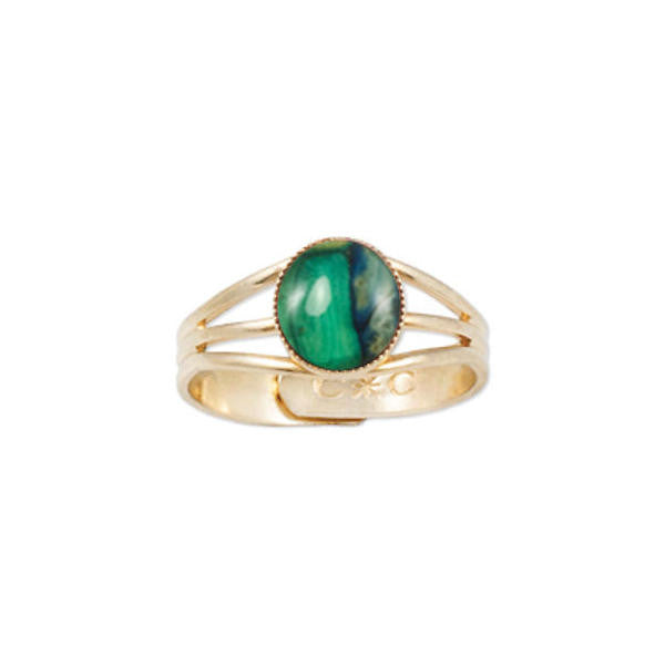 Heathergems Milled Edge Round Ring in Gilt & Green