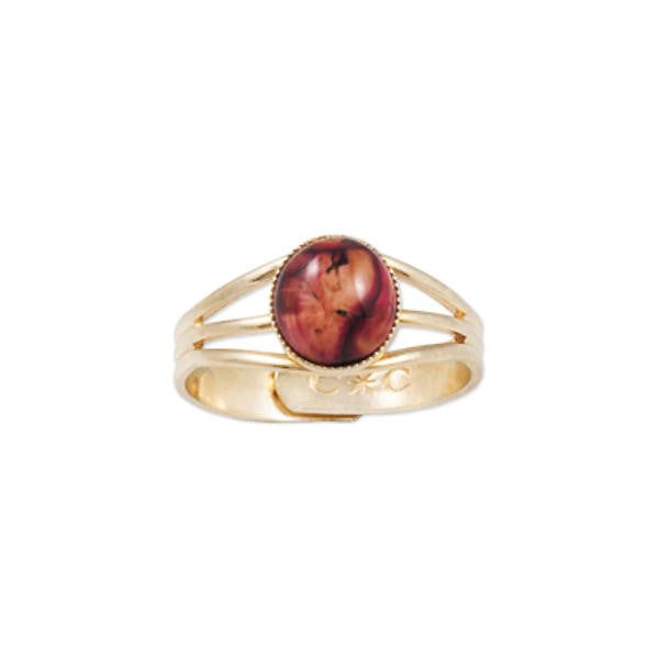 Heathergems Milled Edge Round Ring in Gilt & Red