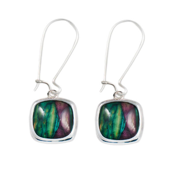 Heathergems Rounded Square Drop Earrings In Silver