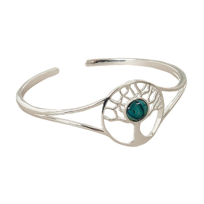 Heathergems Tree of Life Bangle In Silver
