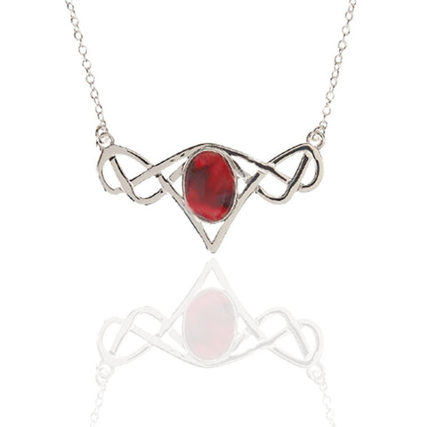 Heathergems Celtic Knot Frame Necklet In Silver