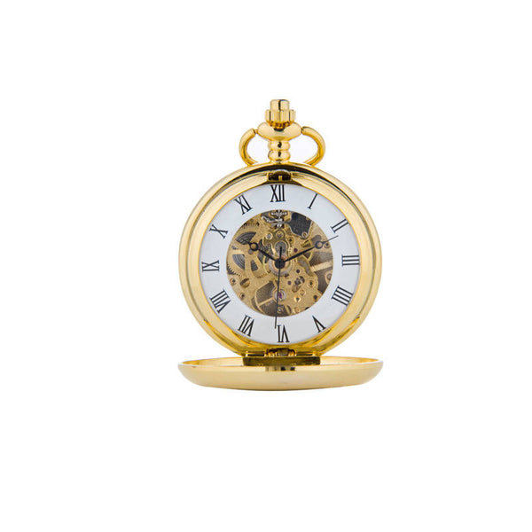 Lion Rampant Mechanical Pocket Watch In Gold Front Face