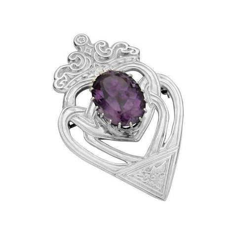Luckenbooth Brooch with Amethyst in Silver