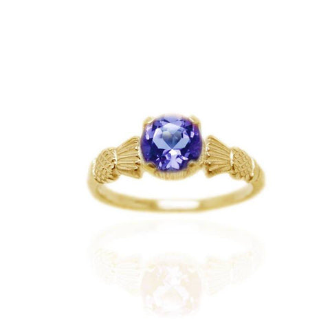 Thistle Ring with Amethyst In Gold