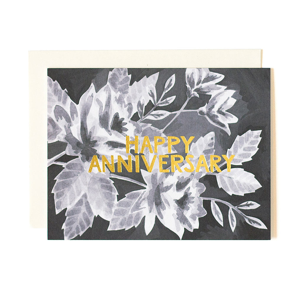 Anniversary Black Floral Card