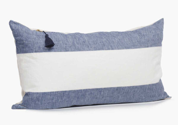 "Harbour Island Pillow In Blue - 14"" x 26"" 