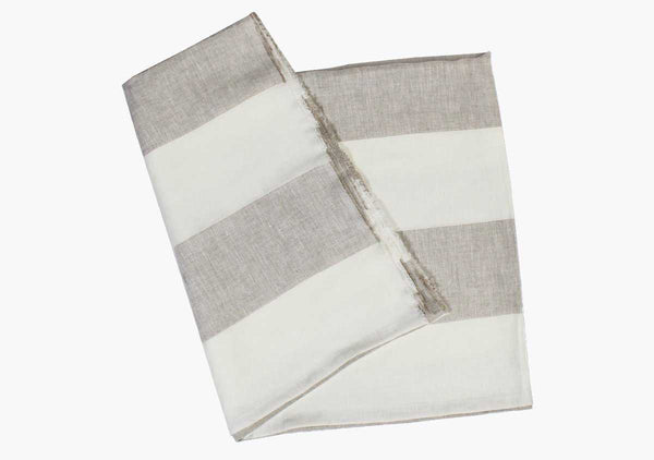 Harbour Island Oatmeal Linen Beach Towel | Hedgehouse