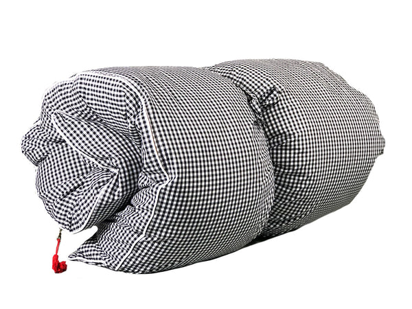 Gingham Throwbed in Black with White Pipe | hedgehouseusa