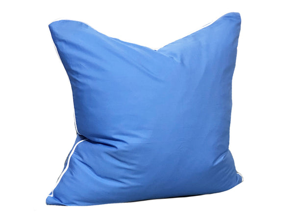 Aveira Throw Pillow in Cobalt Shirtcloth with White Pipe – 26""