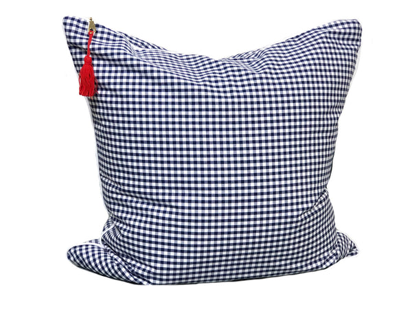 Gingham Throw Pillow in Blue with White Pipe – 20"