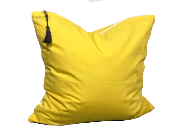 Aveira Throw Pillow in Yellow Shirtcloth with White Pipe – 26"