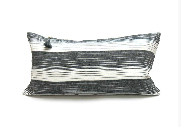 "Cortina Pillow In Black - 14"" x 26"" 