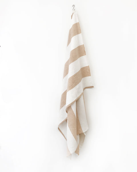 Harbour Island Butterscotch Linen Beach Towel | Hedgehouse