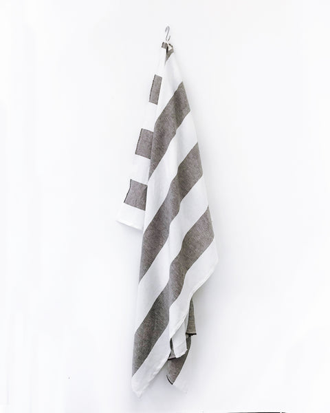 Harbour Island Chocolate Linen Beach Towel | Hedgehouse