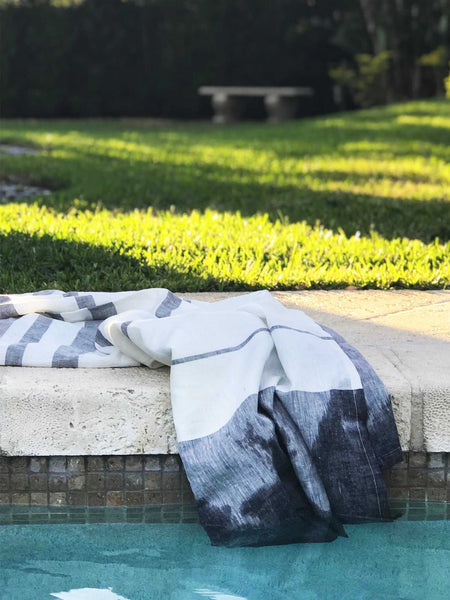 Majorca Blue Linen Beach Towel | Hedgehouse