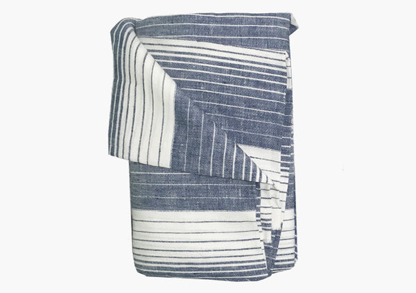 Cortina Blue Linen Beach Towel | Hedgehouse