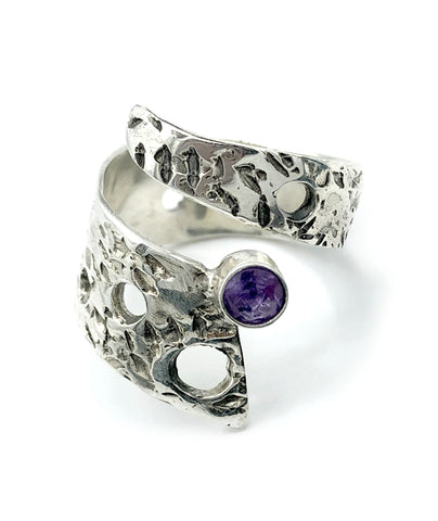 Abstract silver ring, amethyst ring, silver adjustable ring, modern ring