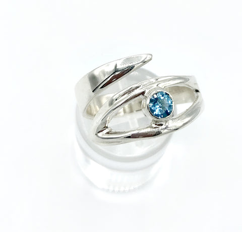 Blue topaz silver ring, November birthstone, eye ring, blue stone ring