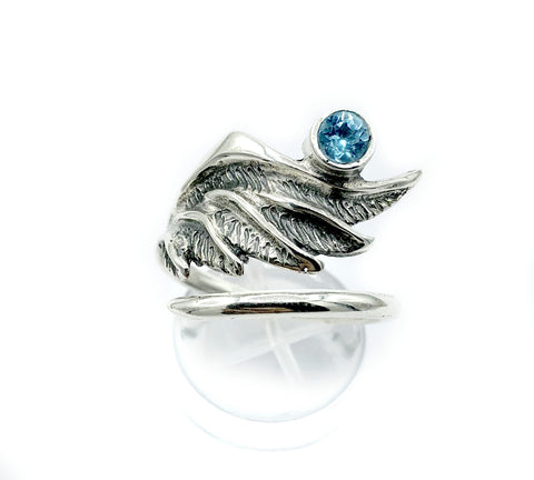 wing ring, silver ring, blue topaz ring, silver adjustable ring, archangel ring