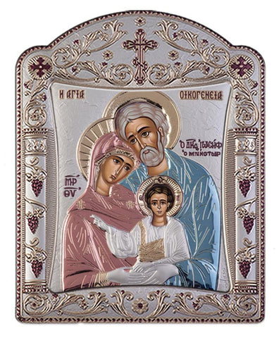 Holy Family Greek Orthodox Silver Icon, Red & Blue 22.7x30.5cm - Handmade with love from Greece