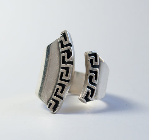 Greek key Ring Silver ring adjustable made in Greece Meander ring