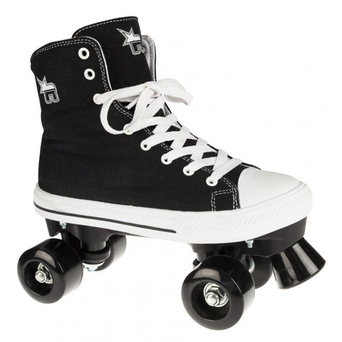 Black Canvas Quad Roller Skates - Main View