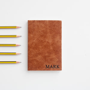 Leather notebook - personalised notebook with small serifed capitals - custom notebook handmade by Hope House Press Notebooks / Journals- Hope House Press