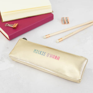 Personalised pencil case - in silver or rose gold leather with ombre personalisation - Hope House Press