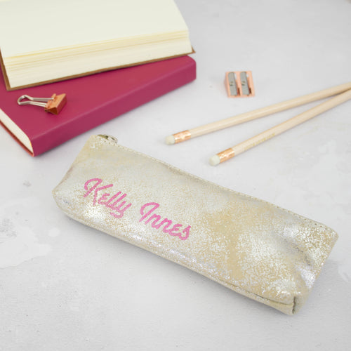 Gold and silver pencil case with neon sign writing personalisation Pen- Hope House Press