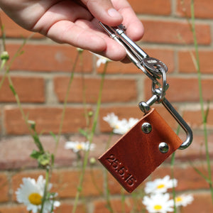 personalised keyring made in leather with foil or embossing personalisation - Hope House Press