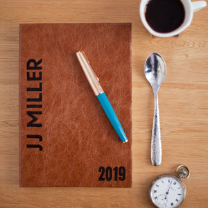 2019 diary - 2019 personalised diary in leather with broadside styling Diary / Journal- Hope House Press