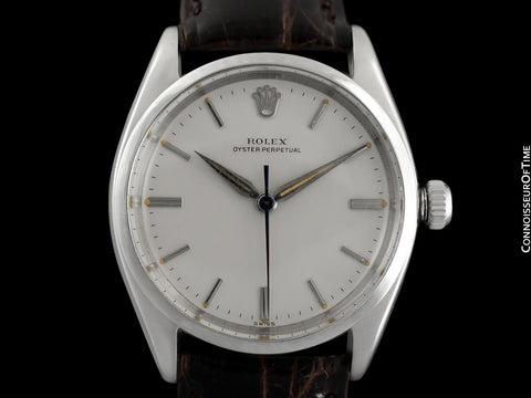 1960 Rolex Oyster Perpetual Vintage Mens Uncommon Ref. 5552 Watch with Silver Dial - Stainless Steel