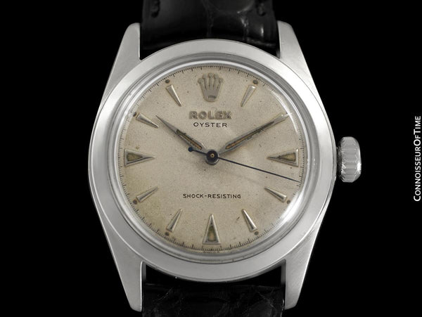 "1952 Rolex Mens Vintage ""Shock Resisting"" Oyster Watch, Stainless Steel - Classic & Rare Design"