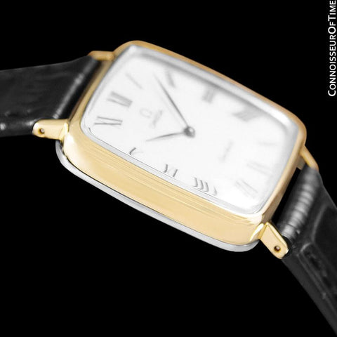 1974 Omega Geneve Vintage Midsize Handwound Ultra Slim Watch - 18K Gold Plated & Stainless Steel