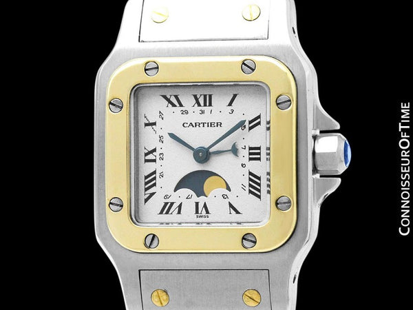 Cartier Santos Galbee Ladies Two-Tone Moon Phase Watch - Stainless Steel and 18K Gold