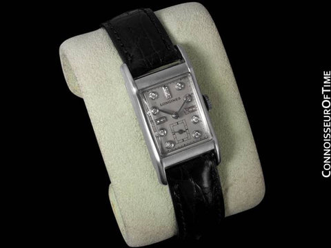 1947 LONGINES VINTAGE Mens Watch - PALLADIUM & 17 DIAMONDS