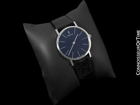 Corum Vintage Mens Handwound Dress Watch, Blue Linen Dial - Stainless Steel