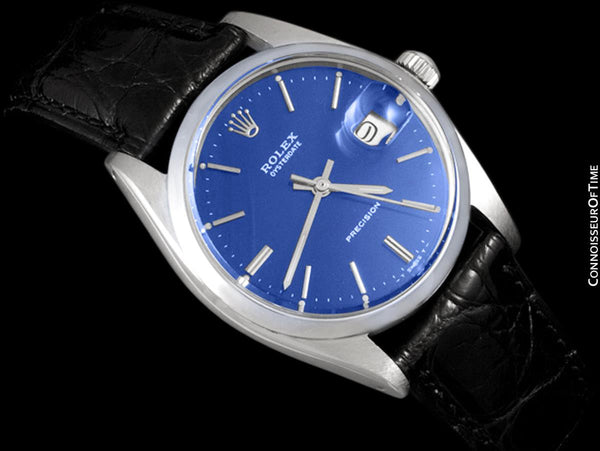 1964 Rolex Vintage Mens Oysterdate Date Watch, Navy Blue Dial - Stainless Steel