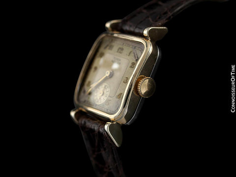1940's Rolex Tudor Rare Double Signed Vintage Mens Watch with Box - 14K Gold Plated & Stainless Steel