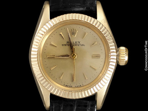 1959 Rolex Oyster Perpetual Classic Ladies Vintage Watch - 14K Gold