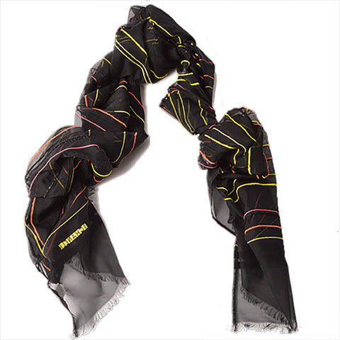 Chanel Black Scarf With Neon Stripes