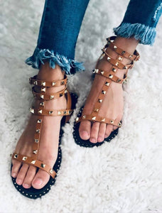 Gladiator Spike Camel Sandals - The Downtown Dachshund