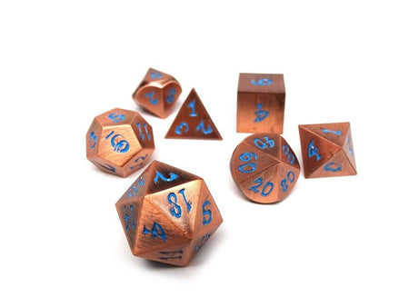 copper dice with blue dragon font