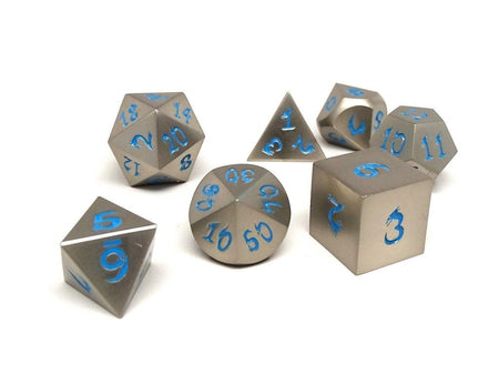 silver dice with blue numbers