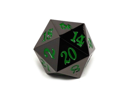 35mm Over Sized Gunmetal Green D20 Dice - Single Die
