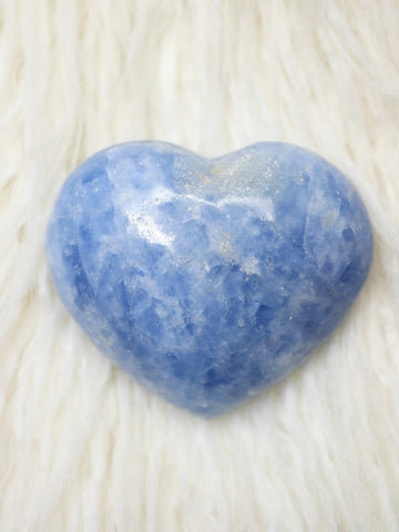 Blue calcite heart carving