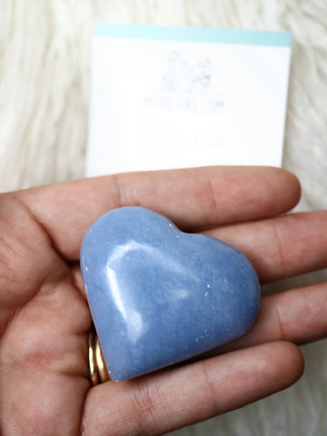 Angelite heart carving