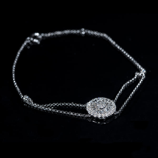 18K White Gold Bracelet with Round and Keystone Diamonds | Jress.com