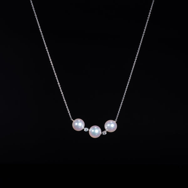 Akoya Pearl White Gold Diamond Necklace | Jress.com